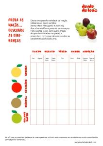 Ficha de experiência - prova as maçãs